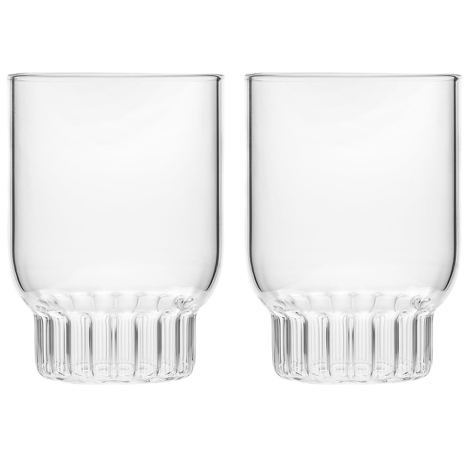 Set of Two Czech Clear Contemporary Rasori Medium Water Glasses, in Stock