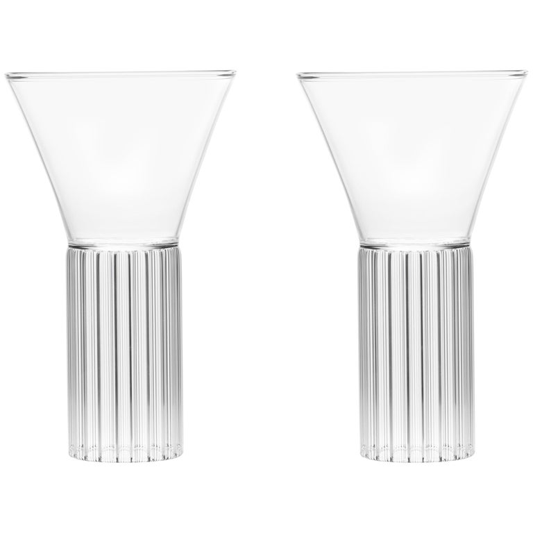 Set of Two Czech Clear Contemporary Sofia Large Cocktail Wine Glasses, in Stock For Sale