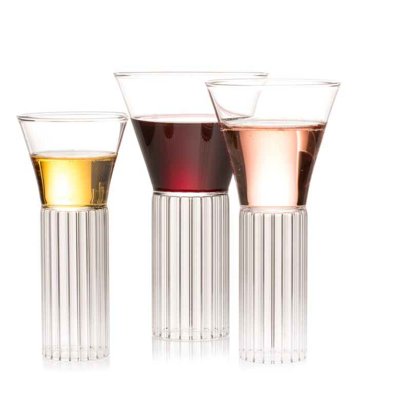 Modern Set of Two Czech Clear Contemporary Sofia Small Cocktail Wine Glasses, in Stock For Sale