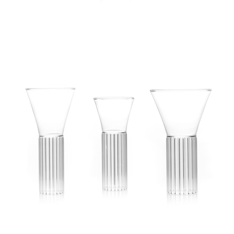 Hand-Crafted Set of Two Czech Clear Contemporary Sofia Small Cocktail Wine Glasses, in Stock For Sale