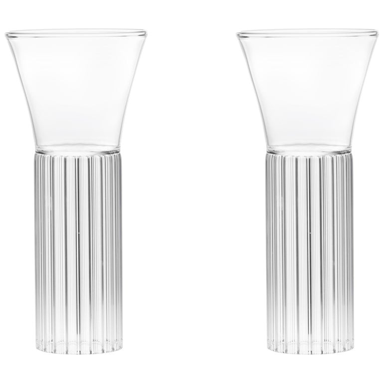 Set of Two Czech Clear Contemporary Sofia Small Cocktail Wine Glasses, in Stock For Sale
