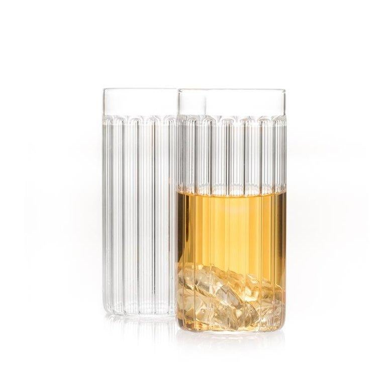 Hand-Crafted EU Clients Set of Two Czech Contemporary Bessho Tall/Collins Glasses, in Stock For Sale