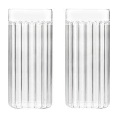 Set of Two Czech Contemporary Bessho Tall / Collins Glasses Handmade, in Stock
