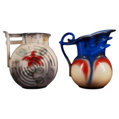 Set of Two Czechslovakian Colorful Ceramic Jugs