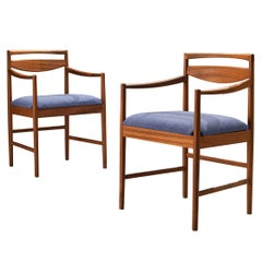 Set of Two Danish Armchairs in Teak and Blue Upholstery