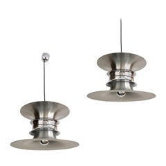 Set of Two Danish Midcentury Chandeliers by Bent Nordsted for Lyskaer, 1970s