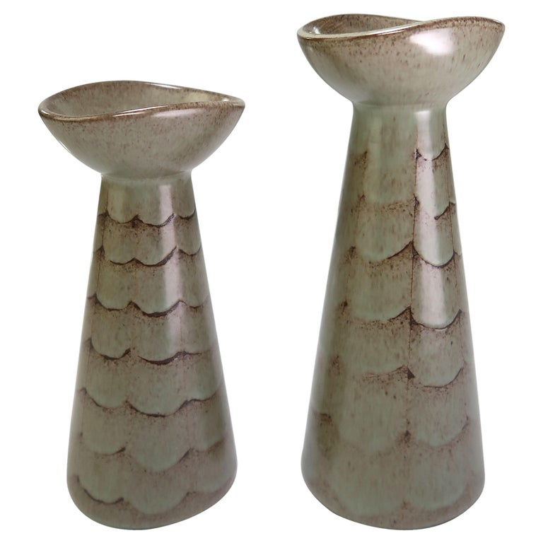 Set of Two Danish Modern Green Candle Sticks or Vases by Lovemose, 1950s For Sale
