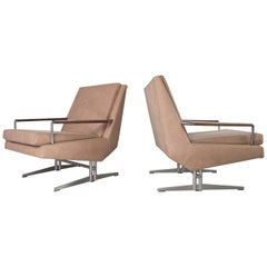 Set of Two Danish Modern Reupholstered Lounge Chairs in Leather, 1960s