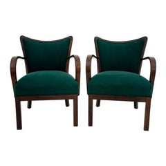 Set of Two Dark Green Club Armchairs in Polish Retro Design, 1950s