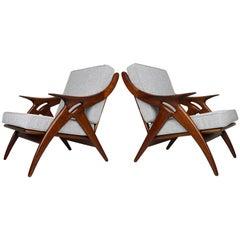 Set of Two ''De Knoop'' Teak Lounge Chairs by De Ster Gelderland, 1960 Dutch