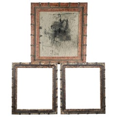 Set of Two Decorative Wooden Frames and an Old Mirror