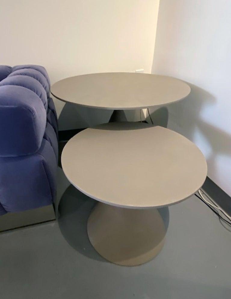 Mini clay indoor side table 45cm height x 75cm diameter Base: concrete grey Luna d65 Top: concrete grey Luna D 65 & Mini clay indoor side table 55cm h x 50cm diameter Base: concrete grey Luna D 65 Top: concrete grey Luna D 65 Small table