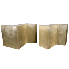 Set of Two Double Z Dining Table Base, Brass by Robert Kuo, Limited Edition