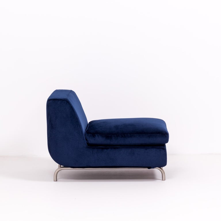 Set of Two Dubuffet Navy Lounge Chairs by Rodolfo Dordoni for Minotti For Sale 5