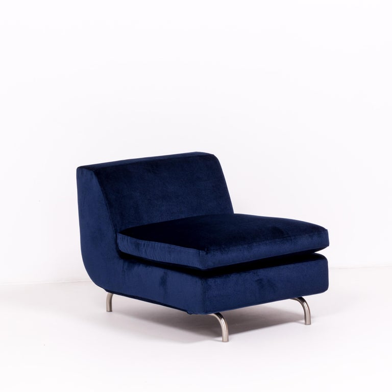 Italian Set of Two Dubuffet Navy Lounge Chairs by Rodolfo Dordoni for Minotti For Sale