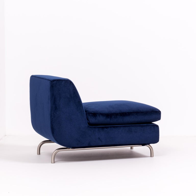 Set of Two Dubuffet Navy Lounge Chairs by Rodolfo Dordoni for Minotti In Good Condition For Sale In London, GB