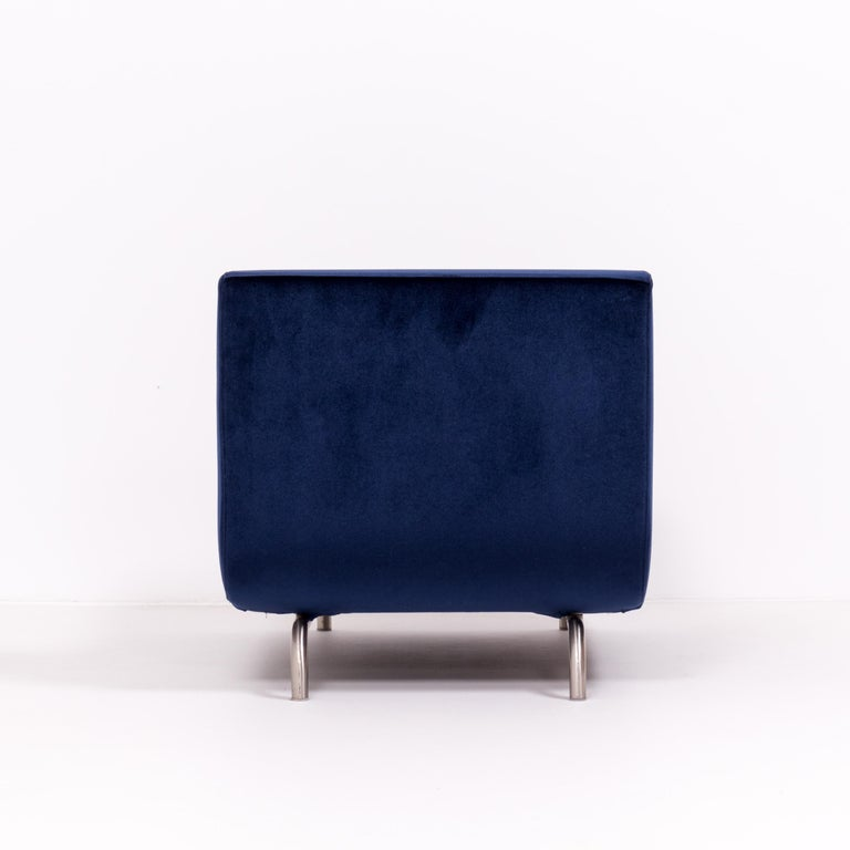 Late 20th Century Set of Two Dubuffet Navy Lounge Chairs by Rodolfo Dordoni for Minotti For Sale
