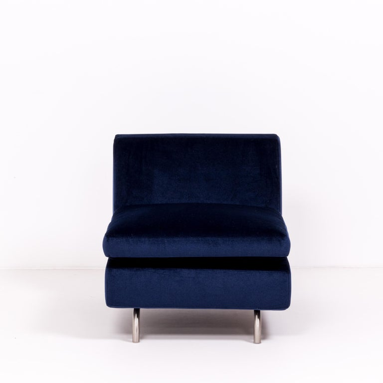 Fabric Set of Two Dubuffet Navy Lounge Chairs by Rodolfo Dordoni for Minotti For Sale