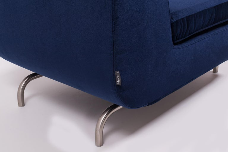 Set of Two Dubuffet Navy Lounge Chairs by Rodolfo Dordoni for Minotti For Sale 2