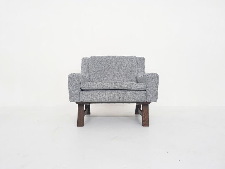 Set of Two Dutch or Scandinavian Design Lounge Chairs with Wenge Feet, 1950s For Sale 8