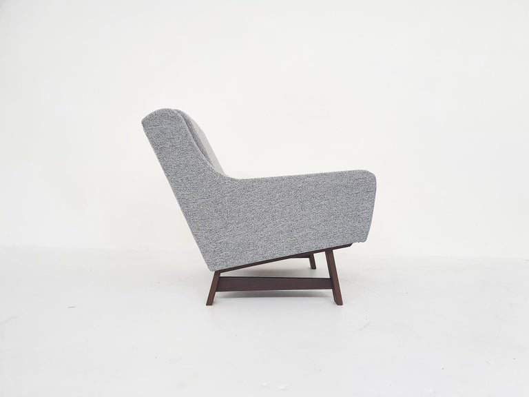 Set of Two Dutch or Scandinavian Design Lounge Chairs with Wenge Feet, 1950s For Sale 10