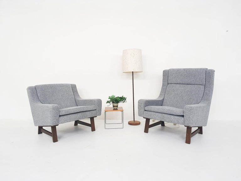 Set of Two Dutch or Scandinavian Design Lounge Chairs with Wenge Feet, 1950s In Excellent Condition For Sale In Amsterdam, NL