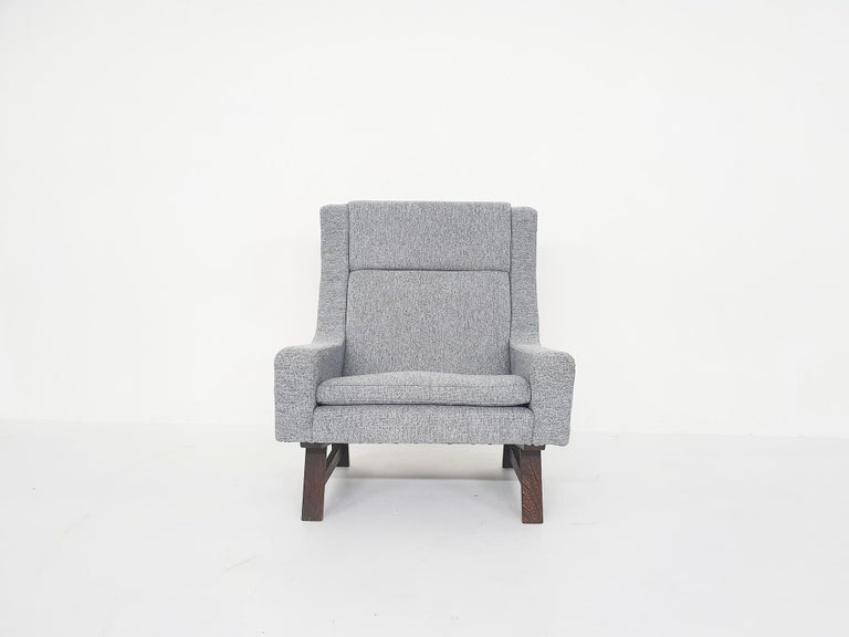Mid-20th Century Set of Two Dutch or Scandinavian Design Lounge Chairs with Wenge Feet, 1950s For Sale