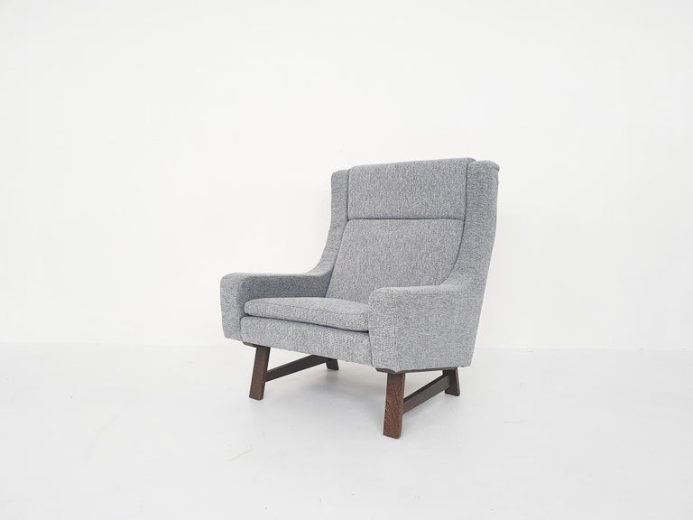 Fabric Set of Two Dutch or Scandinavian Design Lounge Chairs with Wenge Feet, 1950s For Sale