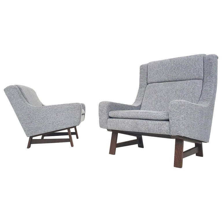 Set of Two Dutch or Scandinavian Design Lounge Chairs with Wenge Feet, 1950s For Sale