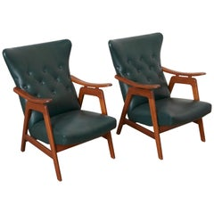 Set of Two Dutch Design Wing Back Chairs by Louis Van Teeffelen for Webe, 1960s