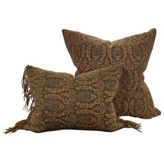 Set of Two Early 20th Century Kashmir Wool Pillows