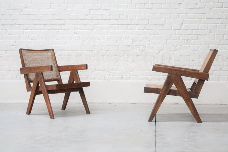 Indian Set of Two 'Easy Armchairs' Circa 1955 by Pierre Jeanneret '1896-1967' For Sale