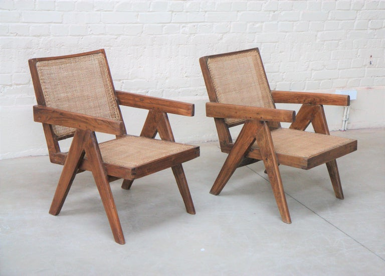 Set of Two 'Easy Armchairs' Circa 1955 by Pierre Jeanneret '1896-1967' In Good Condition For Sale In Altwies, LU