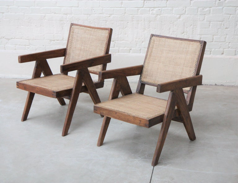 Mid-20th Century Set of Two 'Easy Armchairs' Circa 1955 by Pierre Jeanneret '1896-1967' For Sale