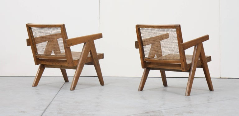 Indian Set of Two Easy Armchairs by Pierre Jeanneret For Sale