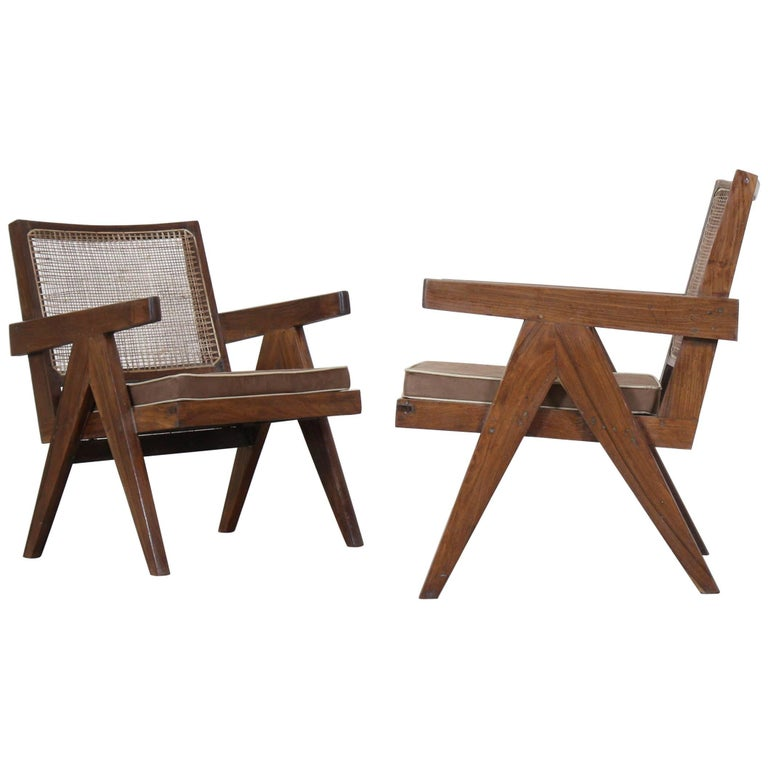 """Set of Two """"Easy Armchairs"""" by Pierre Jeanneret For Sale"""