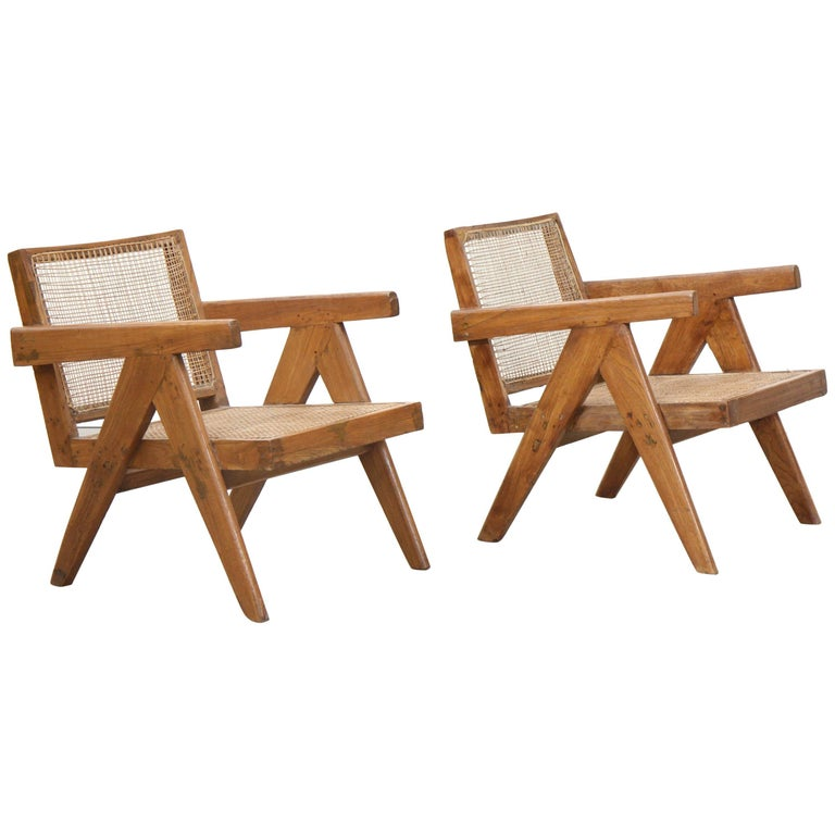 Set of Two Easy Armchairs by Pierre Jeanneret For Sale