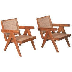 Set of Two 'Easy Armchairs' circa 1955 by Pierre Jeanneret