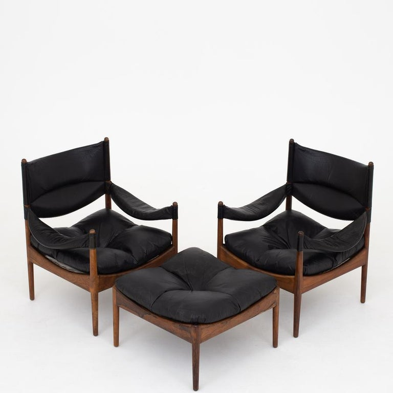 Modus - two easy chairs in solid rosewood with cushions in original, black leather. Maker Søren Willadsen.