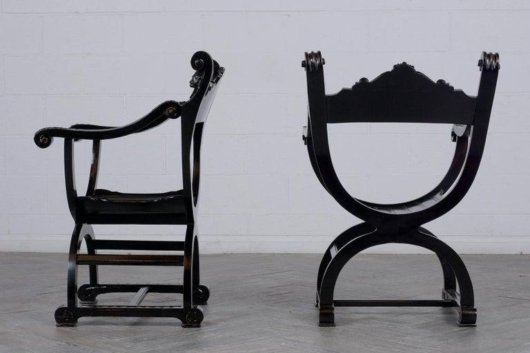 Renaissance Set of Two Ebonized Savonarola Style Armchairs For Sale