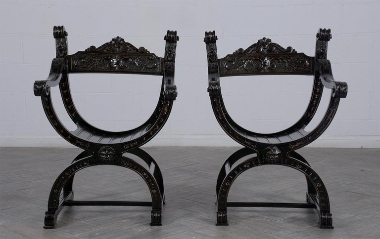 Lacquered Set of Two Ebonized Savonarola Style Armchairs For Sale