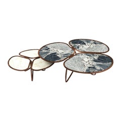 Set of two Elegant Flowers Coffee Table, in Marble and Walnut