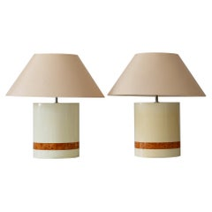 Set of Two Elegant Mid-Century Modern Table Lamps by Tommaso Barbi, Italy, 1970s