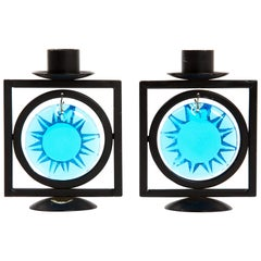Satz aus Zwei Erik Hoglund Kerzenhalter mit Blauem Kunstglas