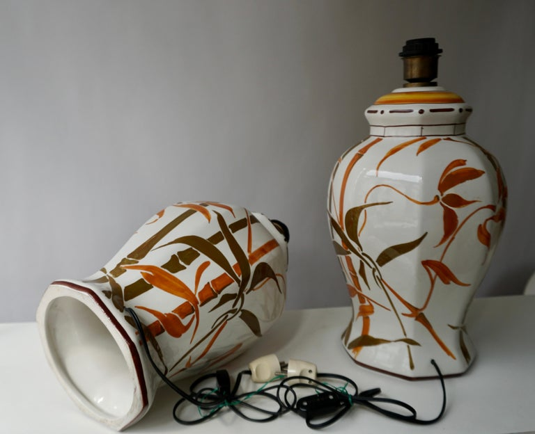 Set of Two Exceptional Mid-Century Modern Ceramic Bamboo Table Lamps, Italy For Sale 4