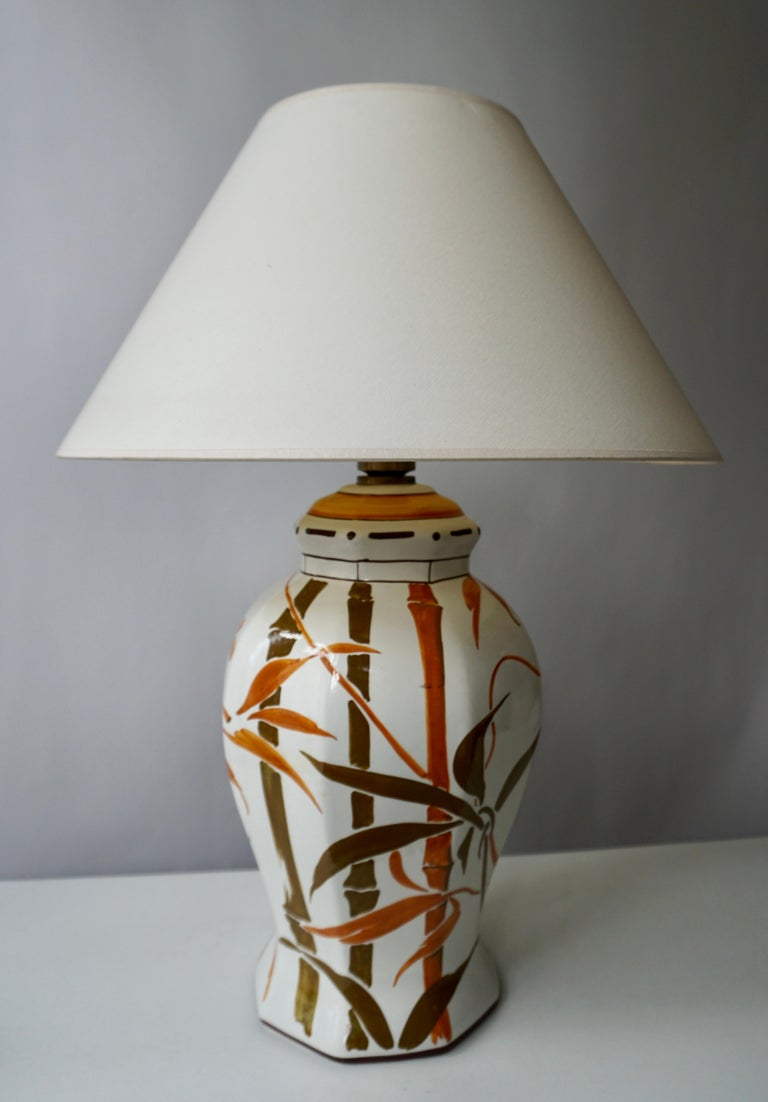 Hollywood Regency Set of Two Exceptional Mid-Century Modern Ceramic Bamboo Table Lamps, Italy For Sale