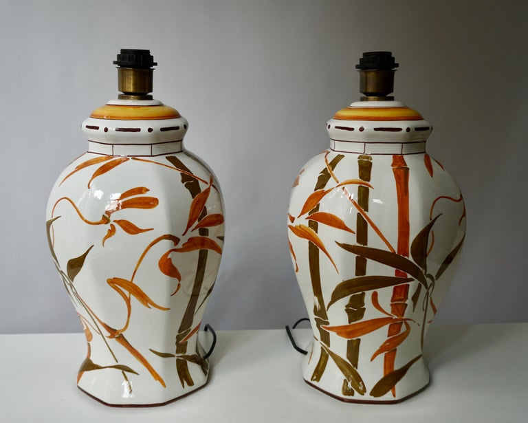Italian Set of Two Exceptional Mid-Century Modern Ceramic Bamboo Table Lamps, Italy For Sale