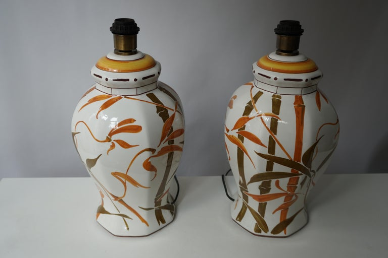 Set of Two Exceptional Mid-Century Modern Ceramic Bamboo Table Lamps, Italy In Good Condition For Sale In Antwerp, BE