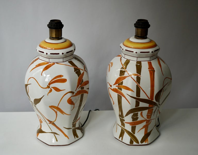 20th Century Set of Two Exceptional Mid-Century Modern Ceramic Bamboo Table Lamps, Italy For Sale