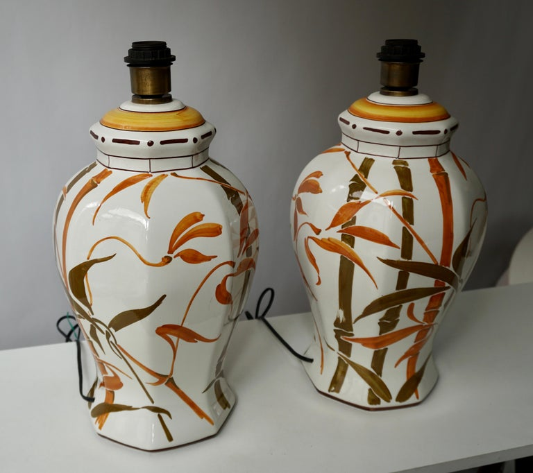 Set of Two Exceptional Mid-Century Modern Ceramic Bamboo Table Lamps, Italy For Sale 1